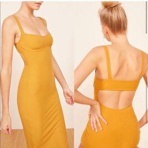 Reformation yellow underwire midi dress XS